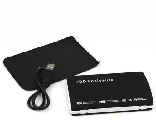 Case externa 2.5'' hdd enclosure preto usb 2.0 com capa