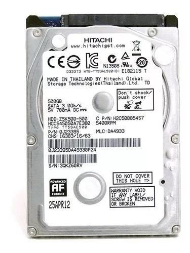 Hd 500gb notebook sata 3,0 gb/s hitachi (hgst) slim 7mm hdd