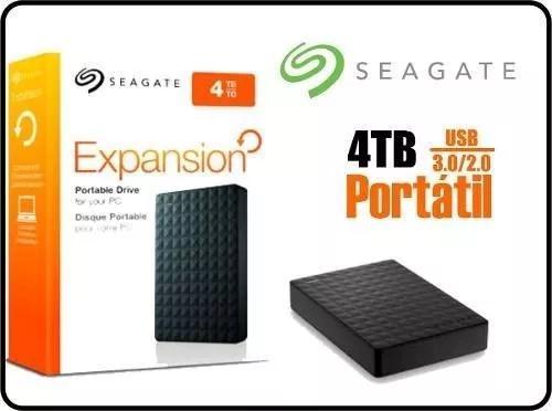 Hd externo 4 tera usb 3.0 slim seagate expansion stea4000400
