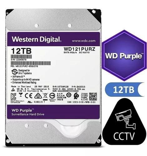 Hd interno western digital purple 12tb sata3 6gb/s cftv dvr