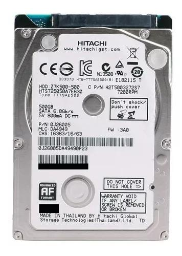 Hd notebook 500gb sata 3 hitachi hgst slim 5400rpm - novo