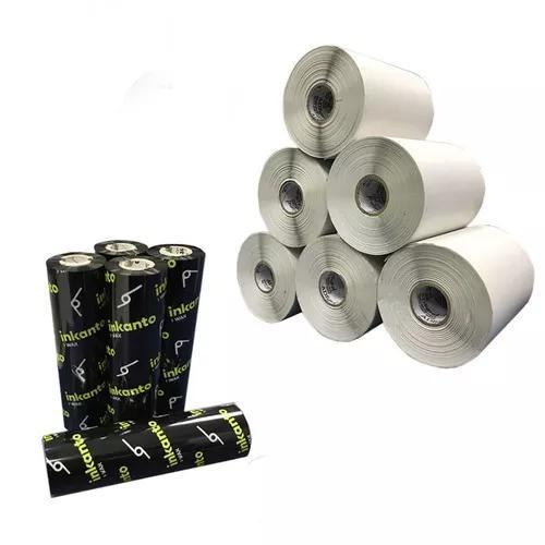 Kit 10 Rolos Etiqueta 10x5 Cm | 100x50 Mm + 5 Ribbons Cera