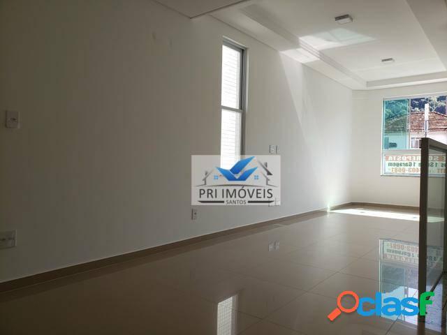 Casa sobreposta alta com 3 dormitórios à venda, 115 m² por r$ 553.000 - marapé - santos/sp