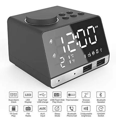Alarme digital com rádio fm, alto-falante bluetooth, porto