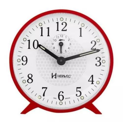 Despertador vermelho herweg redondo a corda com alarme