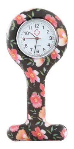 Kit 10 unid relógio lapela silicone jaleco black rose nurse