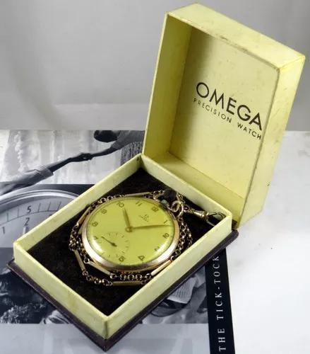 Omega relogio bolso cal 37.5 - plaquet ouro rosa +