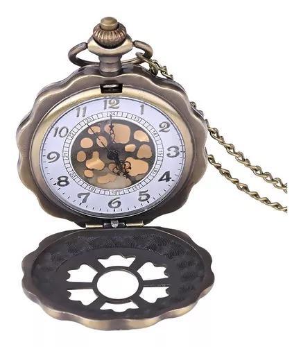 Pingente análogo da colar relógio bolso flor quartzo clás