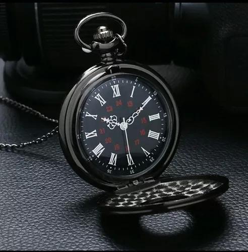 Promoção relógio de bolso metal preto estojo corrente