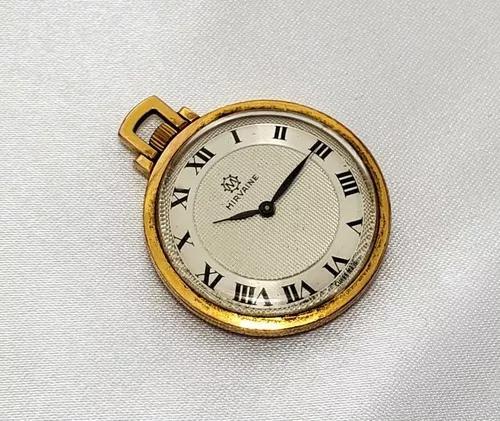 Relógio bolso antigo mirvaine plaque de ouro g10 swiss made
