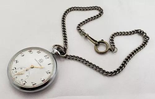 Relógio bolso antigo mirvaine swiss made com corrente