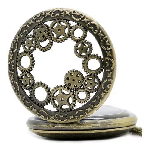 Relógio bolso bronze antiguidade delicado oco engrenag