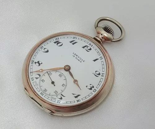 Relógio bolso lonville 15 rubis lanco swiss made prata 800