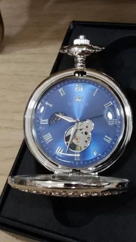 Relógio bolso mecânico à corda com lua e sol mostrador