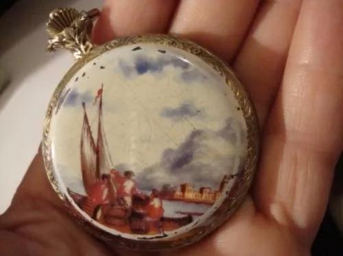 Relógio bolso megalon esmaltado cena portuária frete