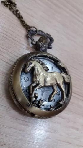 Relógio de bolso cavalo estilo antigo cor bronze