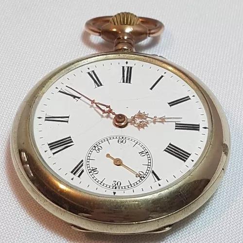 Relógio de bolso cilindro metal funcionando