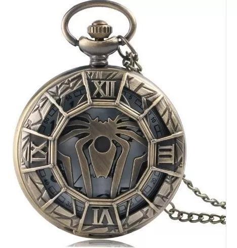 Relógio de bolso com corrente spider man quartzo