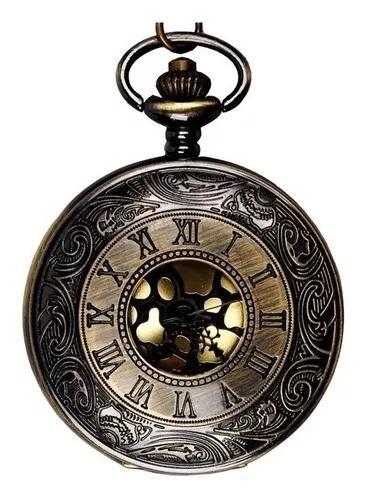 Relógio de bolso design roman vintage bronze quartzo