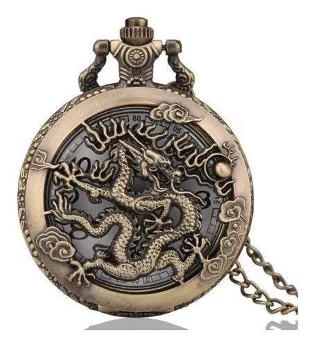 Relógio de bolso dragão zodíaco c/ corrente retro vintage
