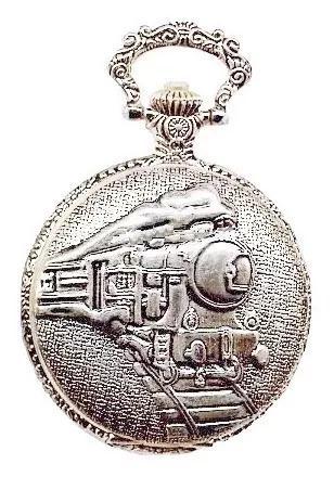 Relógio de bolso locomotiva estilo prata clássico tr