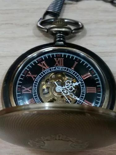 Relógio de bolso mecânico à corda números romanos