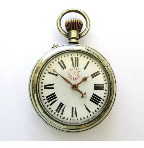 Relógio de bolso postala patent swiss, mostrador porcelana