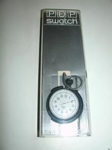 Relógio de bolso quartz pop swatch com corrente original cx