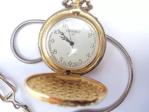Relógio de bolso quartz - tom dourado