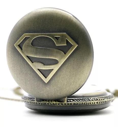 Relógio de bolso superman bronze herói super hom