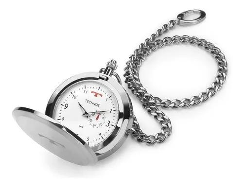 Relógio de bolso technos aço inox quartzo 1l45ba/1b -