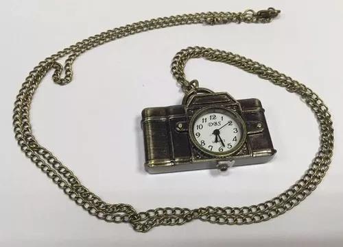 Relógio de bolso unisex cor bronze quartzo formato camera