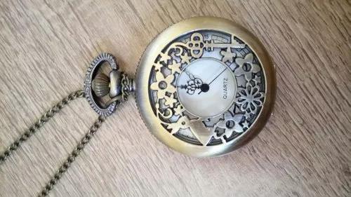 Relógio de bolso vintage funcional alice no país das