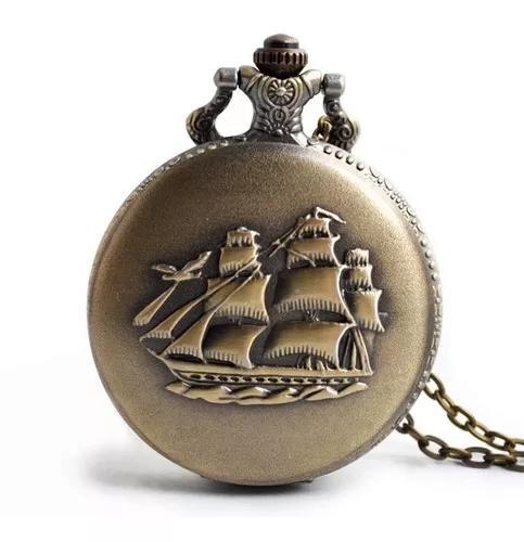 Relógio de bolso vintage navio caravela america