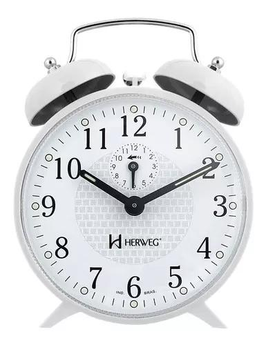 Relógio despertador a corda com campainha mecanico