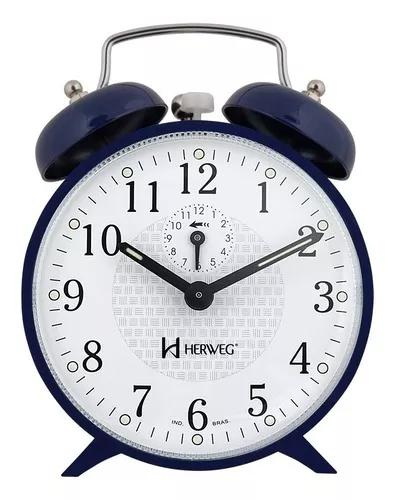 Relógio despertador a cordas azul campainha forte herweg