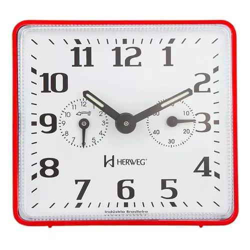 Relógio despertador a cordas vermelho original herweg