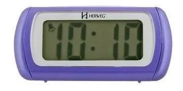 Relógio despertador digital lilás luz led herweg
