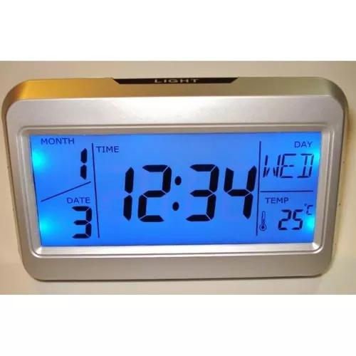 Relógio despertador digital termometro luminaria c/sensor