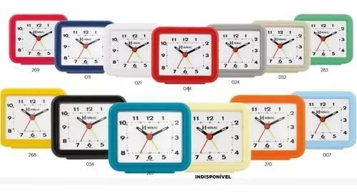Relógio despertador pilha cores alarme forte herweg 2612