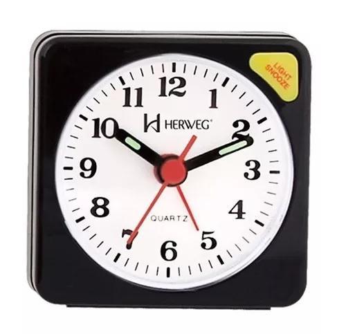 Relógio despertador quartz clássico herweg 2510 034 preto