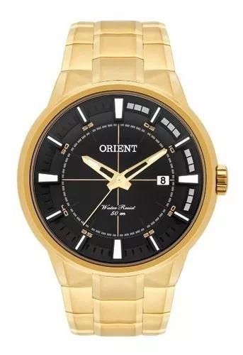Relógio orient masculino dourado fundo preto 34517