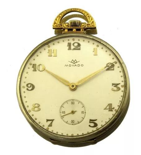 Relogio de bolso movado ouro branco e amarelo 18k 55,1gramas