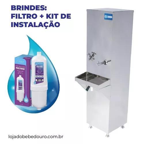 Bebedouro industrial coluna inox 25l + filtro + kit instalar