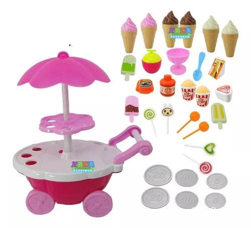 Simulação pequenos carrinhos menina candy cart sorvete