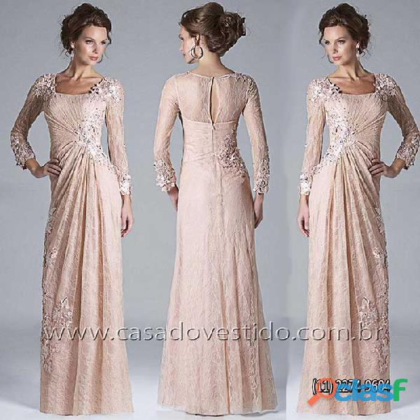 Vestido de renda rose, manga longa da loja VESTIDO NOVO, zona sul