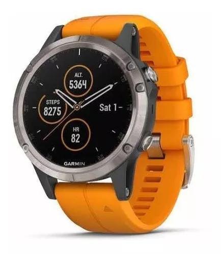 Fenix 5 plus 47mm titanium pulseira laranja pronta entrega!