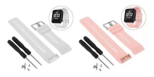 Kit 2x pulseira relógio garmin forerunner 35 -branca rosa