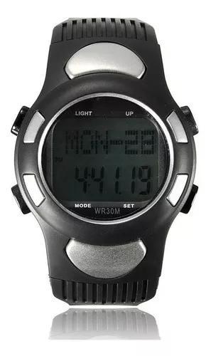 Relógio pedômetro passos km monitor cardíaco prata