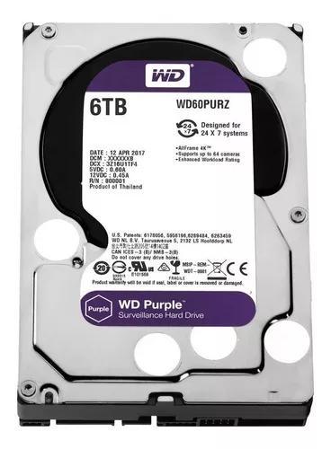 Hd 6tb purple sata 3 western intelbras wd cftv dvr wd60purz